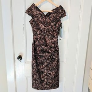 NWT Teri Jon Ruched Stretch Off The Shoulder dress